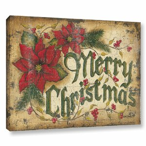 Merry Christmas Textual Art on Wrapped Canvas
