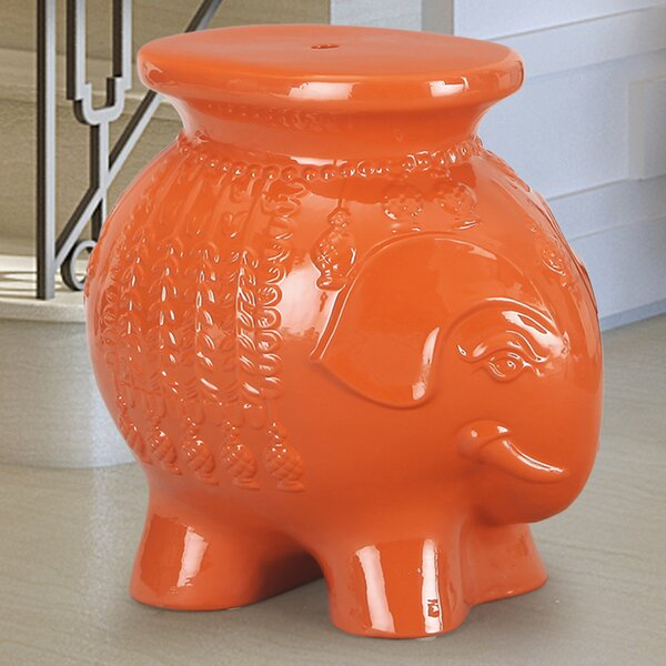 Lucky Elephant Ceramic Garden Stool by Adeco Trading