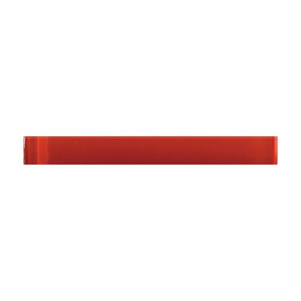 Lucente 1 x 9 Glass Liner Tile in Ruby by Emser Tile