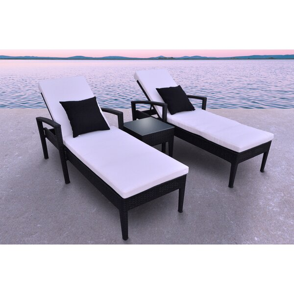 Frigor 3 Piece Chaise Lounge Set with Cushions