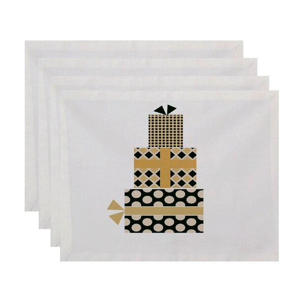 Delorme Holiday Wishes Gift Wrapped Geometric Print Square Placemat (Set of 4) by The Holiday Aisle