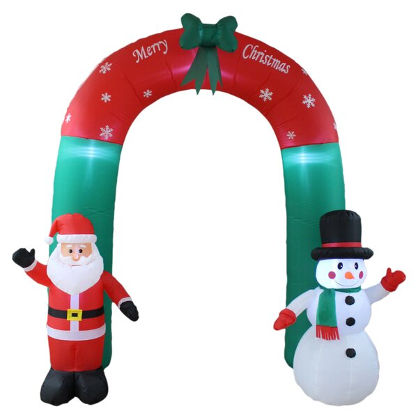 Christmas Inflatable Santa Claus and Snowman Arch