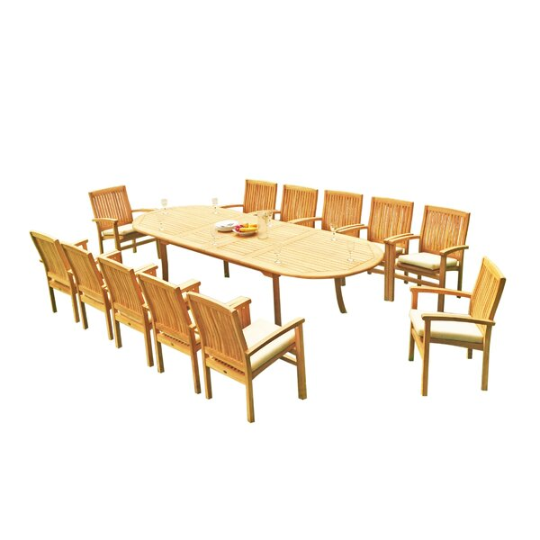 Masuda 13 Piece Teak Dining Set by Rosecliff Heights