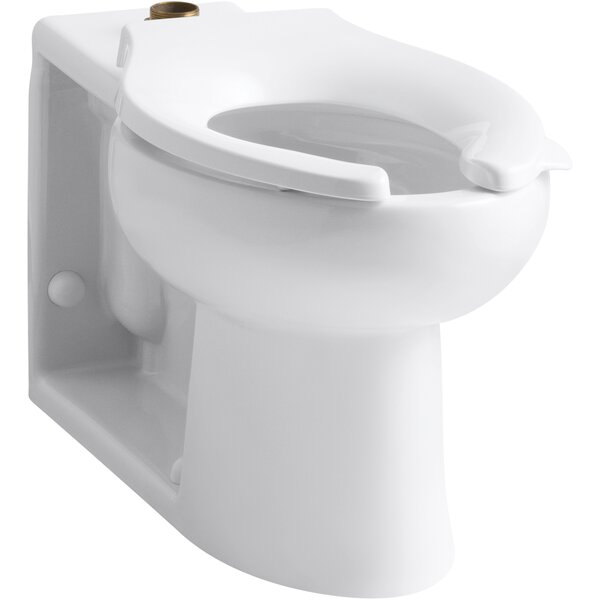 Anglesey™ Floor-Mounted Wall-Outlet 1.6 GPF Flushometer Valve Elongated Bowl with Top Inlet and Bedpan Lugs, Antimicrobial by Kohler