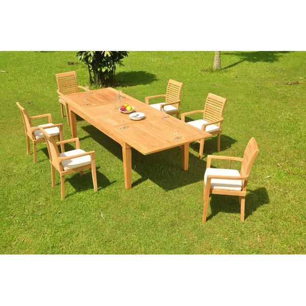 Kobbe 7 Piece Teak Dining Set by Rosecliff Heights