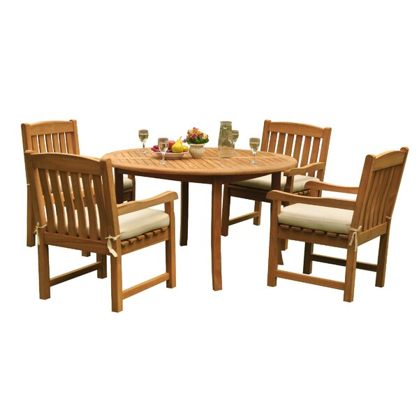 Mateer 5 Piece Teak Dining Set by Rosecliff Heights