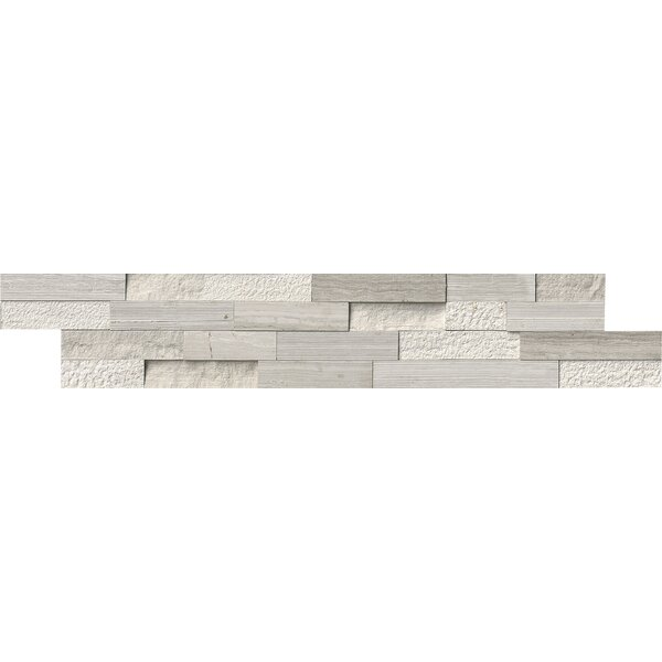 6 x 24 Marble Splitface Tile in White by MSI
