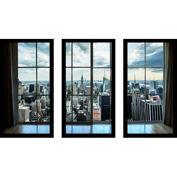 New York Window 3 Piece Framed Photographic Print Set by Picture Perfect International