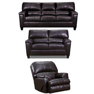 Zamudio 3 Piece Leather Reclining Living Room Set by Winston Porter