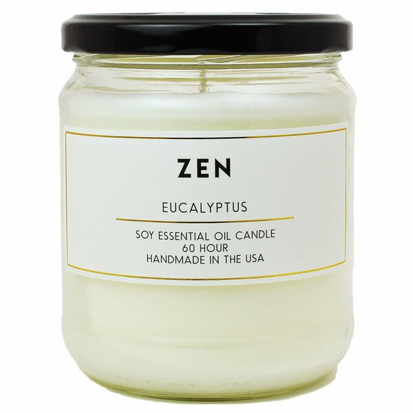 Zen Eucalyptus Essential Oil Soy Scented Jar Candle by Bungalow Rose
