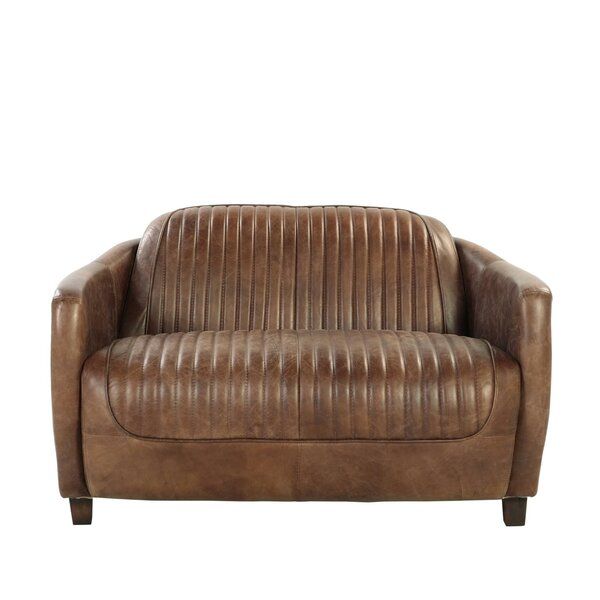 Review Retro Brown Top Grain Leather And Aluminum Loveseat