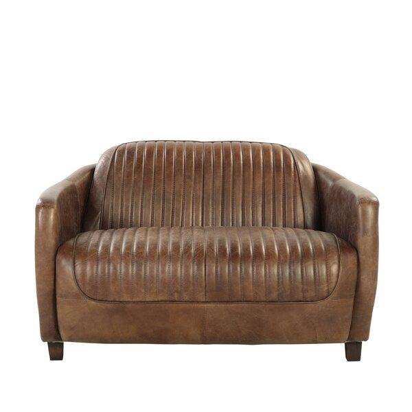Home & Garden Retro Brown Top Grain Leather And Aluminum Loveseat