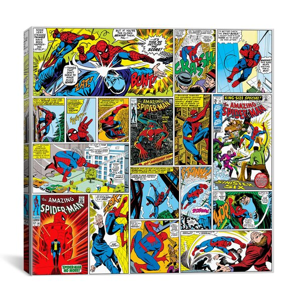 Marvel Comics Book Spider-Man Covers and Panels Graphic Art on Wrapped Canvas by iCanvas