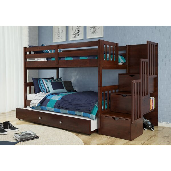 Vao Twin Over Twin Bunk Bed with Trundle Bookcase and Drawers by Harriet Bee