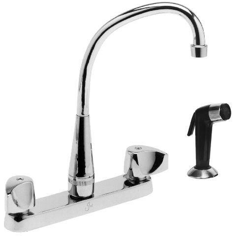 Double Handle Kitchen Faucet with Side Spray by Just Manufacturing