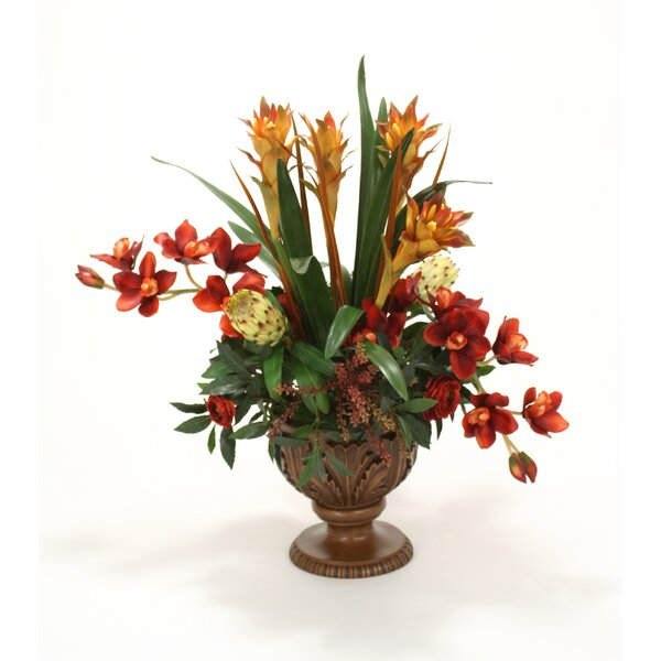 Orchids, Berries, Ranunculus, Protea in Acanthus Leaf Compote by Distinctive Designs