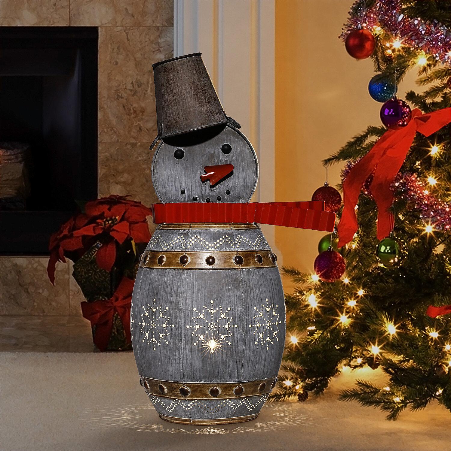 Holiday Aisle Metallic Barreled Snowman