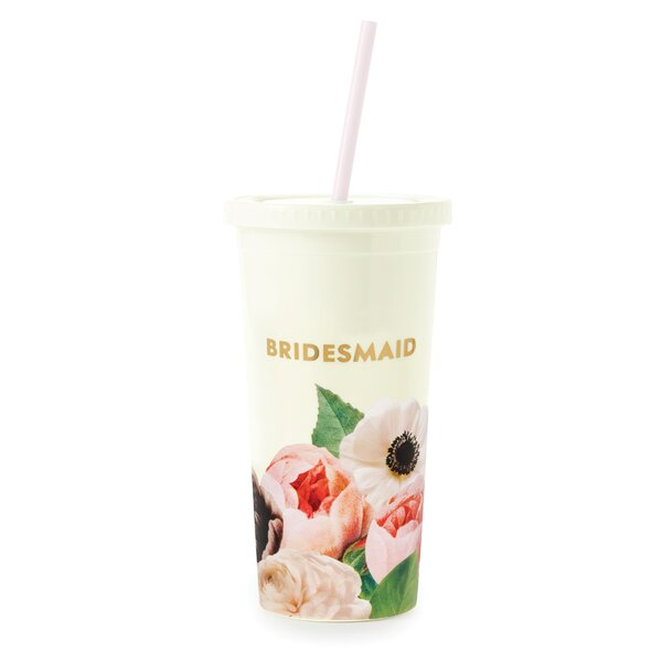 Bridesmaid Tumbler with Straw, Blushing Floral by kate spade new york