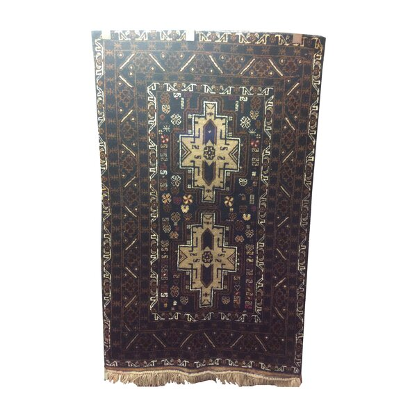 One-of-a-Kind West Afghan Tribal Hand-Knotted Wool Brown/Blue Area Rug by Bloomsbury Market
