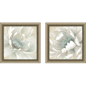 'Winter Blooms I' 2 Piece Framed Print Set on Glass by Ophelia & Co.