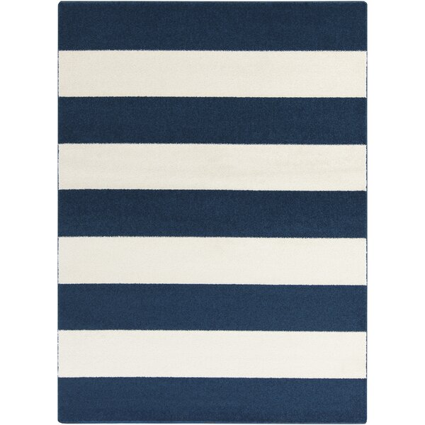 Greer Cobalt & Ivory Striped Area Rug by Latitude Run