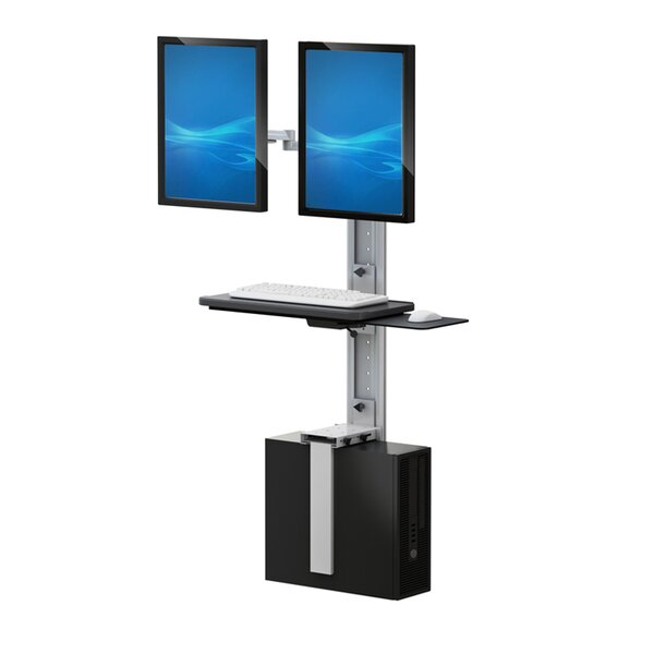 Height Adjustable Universal 2 Screen Workstation/Cart by Best Mounting