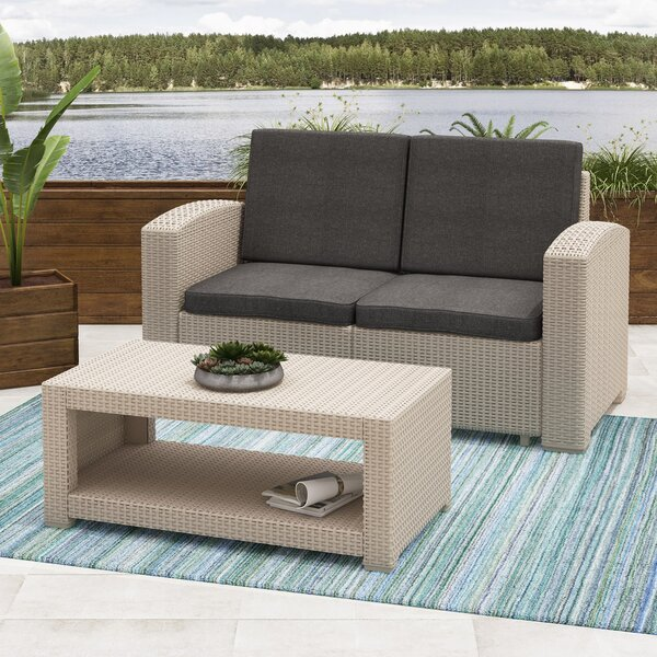 Guillot Patio 2 Piece Sofa Set with Cushions by Wrought Studio