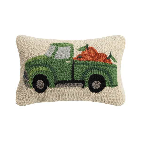 Compton Fall Truck with Pumpkins Hook Cotton/Wool Lumbar Pillow by The Holiday Aisle