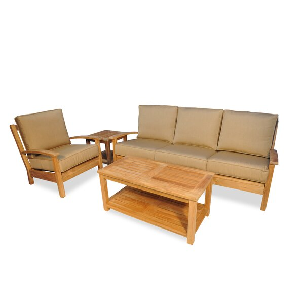 Teak 4 Piece Sunbrella Sofa Set with Cushions by Regal Teak