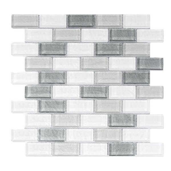 Geo 1 x 2 Glass Mosaic Tile in Blue Gray by Abolos