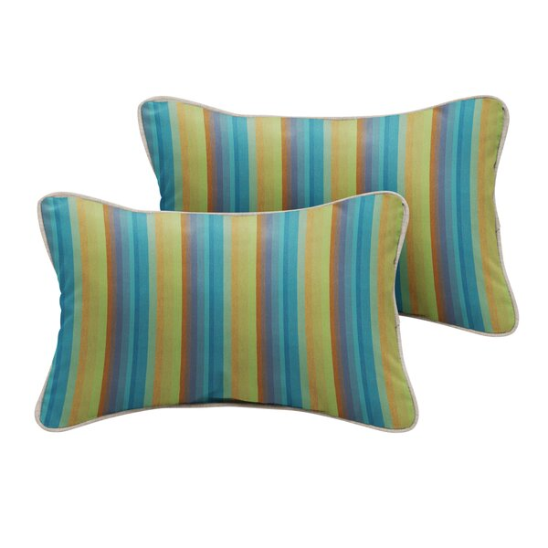 Ny Sunbrella Astoria Lagoon Stripe Outdoor Lumbar Pillow (Set of 2) by Bayou Breeze