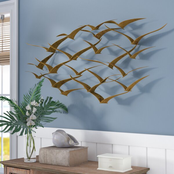 Beautiful Patterned Metal Flocking Birds Wall Decor by Beachcrest Home