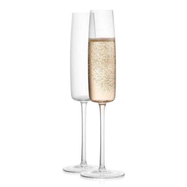 Amara High End Lead Free Crystal 6.08 oz. Champagne Glass (Set of 2) by JoyJolt