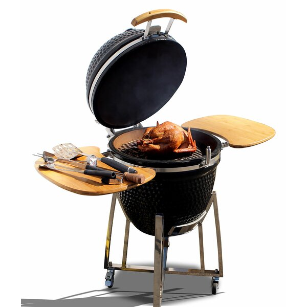 21 Kamado Charcoal Grill with Smoker by Cal Flame