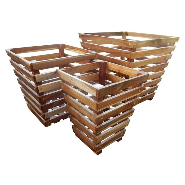 3-Piece Teak Wood Decorative Planter Box Set by Nicahome LLC