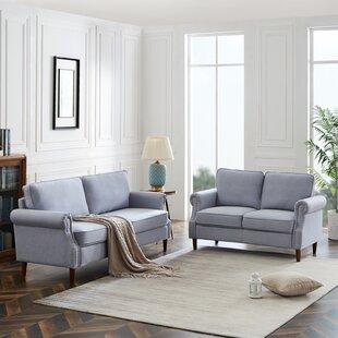 Modern Upholstered 2-3 Seater Sofa For Apartment, Dorm Light Grey by Red Barrel Studio®