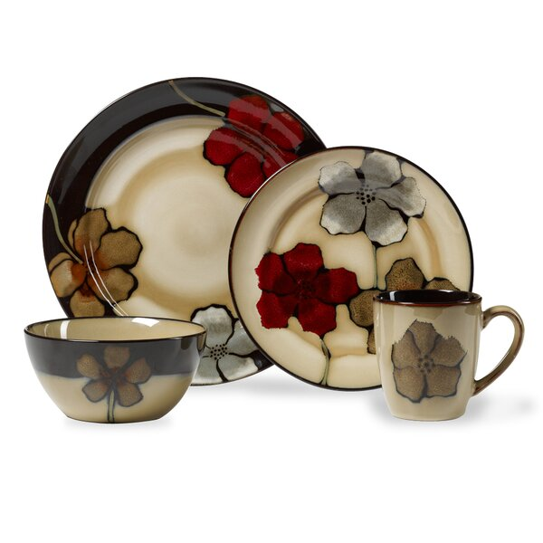 Painted Poppies 16 Piece Dinnerware Set, Service for 4 by Pfaltzgraff Everyday