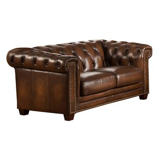 Dusty Leather Chesterfield Loveseat By Canora Grey