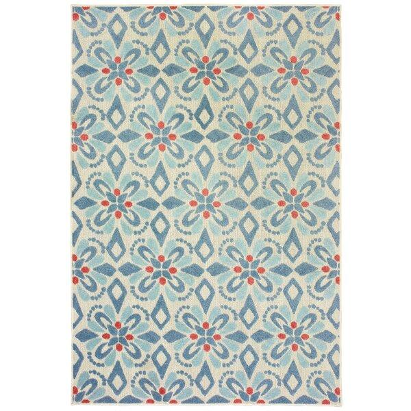 Gerritt Floral Blue Indoor/Outdoor Area Rug by Ebern Designs
