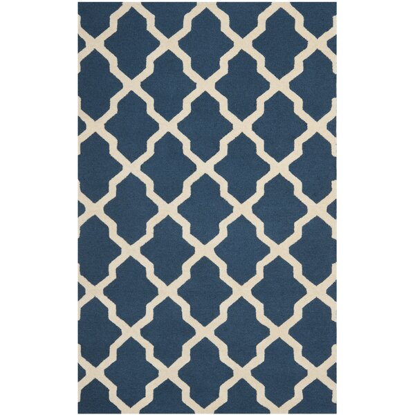 Charlenne Lattice Handand-Tufted Wool Navy Blue Area Rug by Zipcode Design