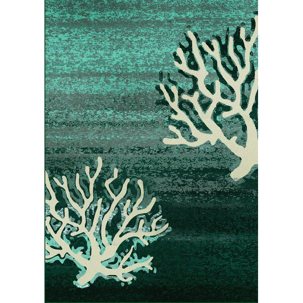 Coastal Coral Pattern Aqua Area Rug by American Dakota