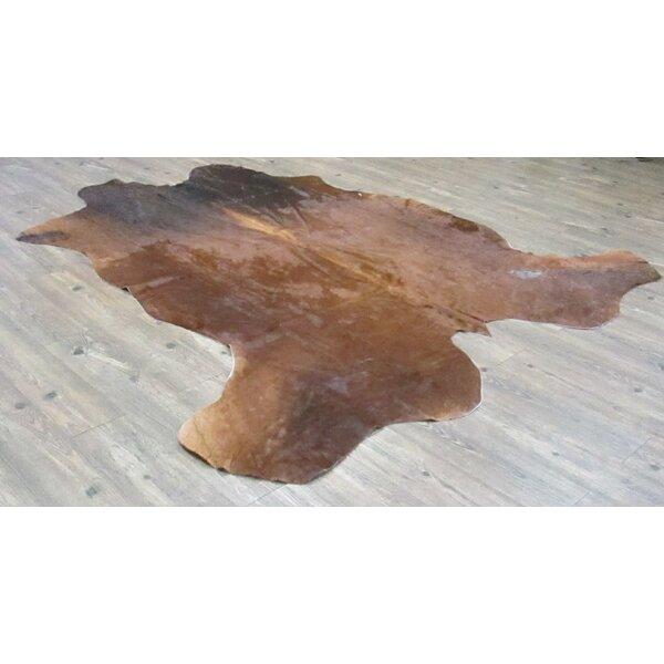 Kayla Hand-Woven Cowhide Brown/Black Area Rug by Loon Peak