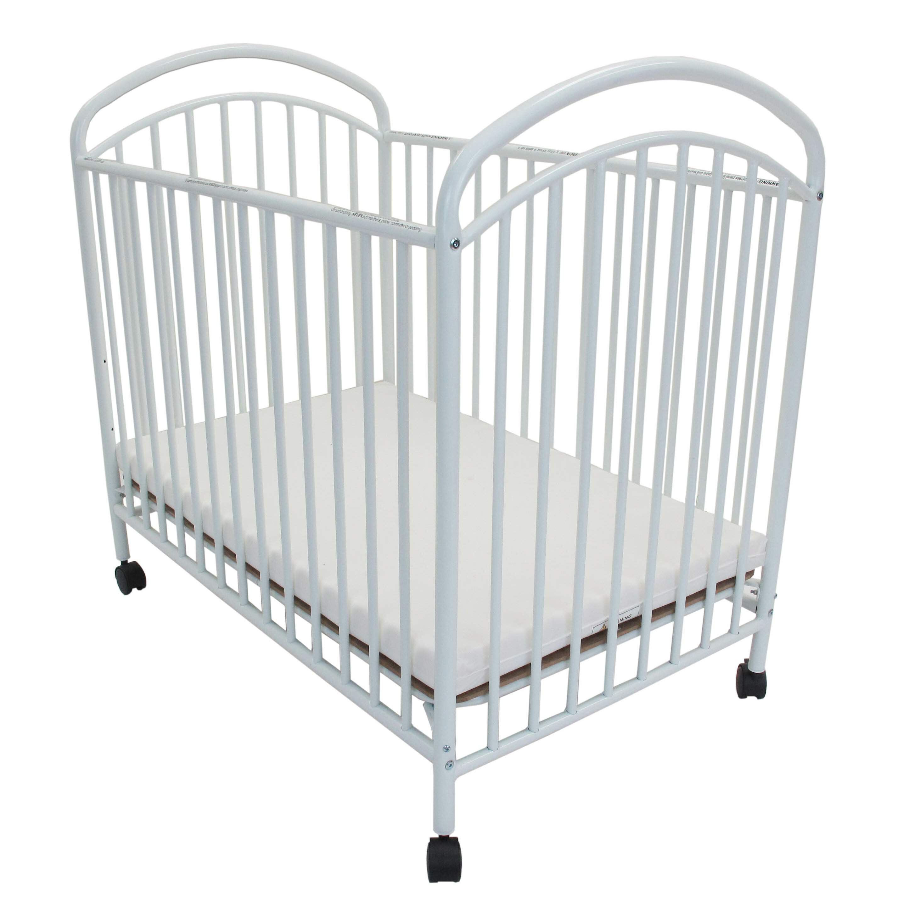 L.A. Baby Classic Arched Compact Metal Portable Crib with Mattress ...
