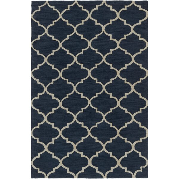 Goshen Hand Tufted Navy/Ivory Area Rug by Charlton Home