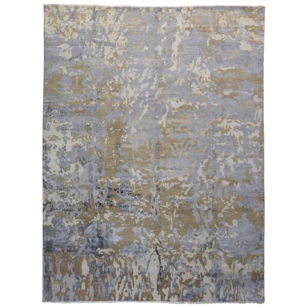 One-of-a-Kind Cassius Oriental Hand-Knotted Blue Area Rug by 17 Stories