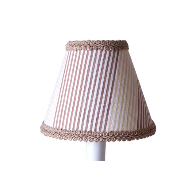 Sandy 7 H Fabric Empire Lamp shade ( Screw on ) in Brown/White