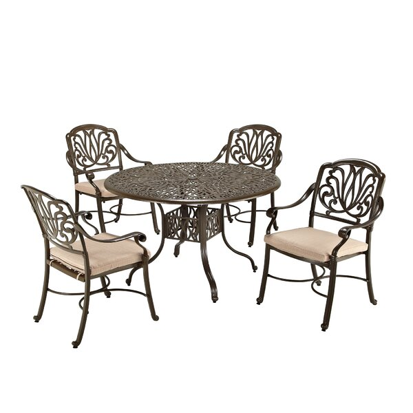 Strickland 5 Piece Dining Set with Cushions by One Allium Way