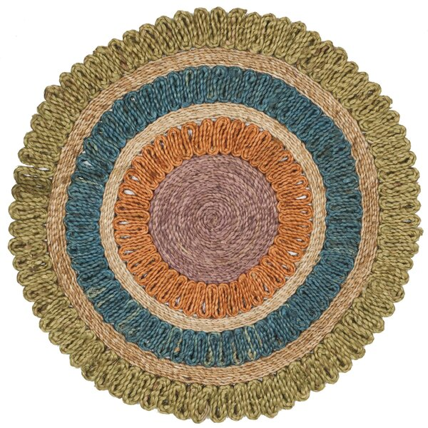Castelnaud Natural Fiber Hand Tufted Green/Blue/Orange Area Rug  by August Grove