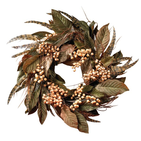 Feather and Berry Wreath by Nearly Natural