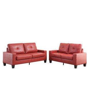 Platinum II Sofa & Loveseat In Red PU by Latitude Run®